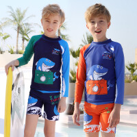 儿童泳衣男童 分体中大童运动长袖速干宝宝游泳衣