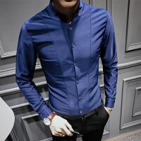 男长袖衬衫修身韩版时尚立领衬衣英伦商务青年发型师寸衣
