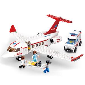 【当当自营】小鲁班新航空天地系列儿童益智拼装积木玩具 医疗救护飞机M38-B0370