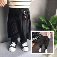 冬季婴幼儿宝宝双层加绒夹棉打底裤超厚保暖皱皱裙摆裤