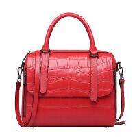 新款女包 韩版时尚风鳄鱼纹头层牛皮单肩 手提斜挎女士包包 大红色