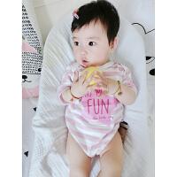 婴儿连体衣服宝宝新生儿季01岁7月薄款短袖三角哈衣款新年
