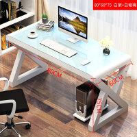 职员台式电脑桌粉色游戏电竞玻璃桌洽谈办公桌家具一体学习桌 白色 80*60*75白玻璃