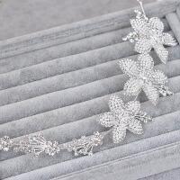 新娘韩式珍珠水钻花朵头饰项链耳环三件套结婚纱礼服发配饰品 均码