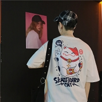 韩版原宿风招财印花T恤男女情侣夏装趣味日系短袖潮流体恤衫