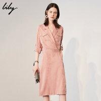 【不打烊价:329.7元】 Lily春新款女装光泽感西装领口袋修身连衣裙118330C7670