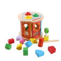 多功能智慧形状轮配对敲球台幼儿童启蒙数字早教益智木制积木玩