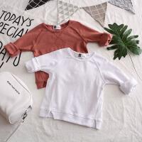 2018春款儿童男童休闲韩卫衣白色长袖纯棉打底衫宝宝圆领套头T恤