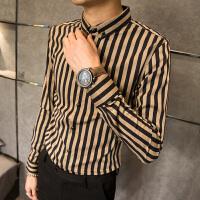 春季英伦男士长袖衬衫韩版修身潮流条纹衬衣男尖领帅气男生上衣服