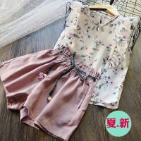 韩版 清新女童荷叶边雪纺上衣+棉麻休闲短裤两件套儿童套装2018夏