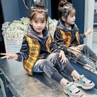 女童冬装套装金丝绒韩版时尚儿童装洋气秋冬三件套潮