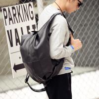 潮流韩版双肩包男 多功能学生书包电脑背包旅行包青年饺子包单肩 黑色