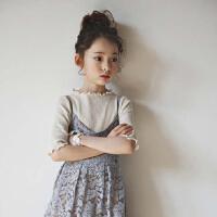 2017夏季新款韩国童装女童短袖t恤木耳边上衣中大儿童半袖打底衫