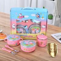 304不锈钢儿童饭盒餐具防摔碗辅食碗勺叉套装儿童小猪佩奇保温碗