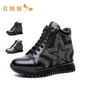 红蜻蜓2018新款纯色平跟系带短靴女