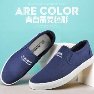 回力帆布鞋男低帮懒人鞋夏季男鞋子一脚蹬老北京布鞋透气休闲板鞋