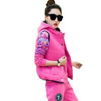 2018运动户外套装女冬装潮流女士卫衣三件套韩版加绒加厚运动休闲套装