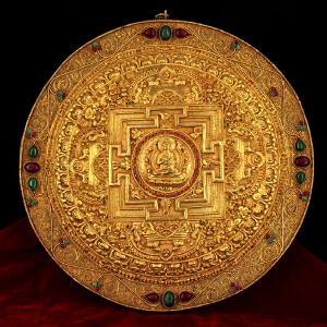 纯铜手工打造纯铜鎏金掐丝镶嵌宝石释迦摩尼佛祖转世坛城