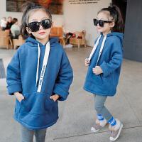女童加绒加厚卫衣 双12新款冬款儿童童装韩版长款保暖上衣绒衫