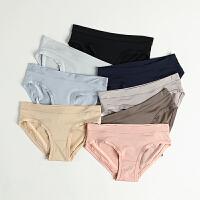 无痕内裤女士冰丝超薄透气一片式中低腰双层棉挡三角裤头