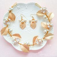 韩式新娘婚纱配饰头花 金色珍珠盘发发簪  新娘头饰