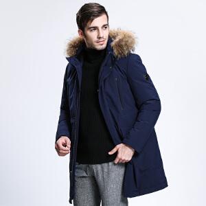 坦博尔冬季新款羽绒服男士中长款毛领商务休闲羽绒外套TA3629