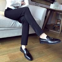 秋冬装商务男士纯色休闲裤时尚修身小脚裤弹力显瘦铅笔裤免烫西裤
