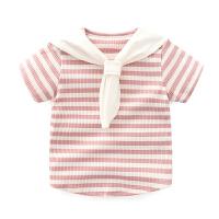 婴儿短袖T恤半袖体恤衫海军风条纹夏装夏季夏天上衣0-1岁女宝 粉白条纹领巾