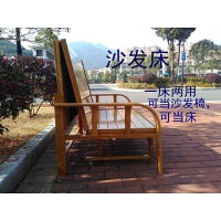 折叠床午休床单人床家用1.2米竹床1.5米双人床办公简易沙发床 豪华竹沙发床1.8米宽送床垫+坐垫 (2米长)棕色
