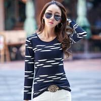 春季新款韩版条纹圆领纯棉女装长袖T恤 修身女士长袖T恤上衣
