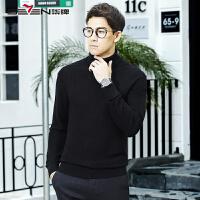 柒牌男装高领羊毛衫男士冬季韩版打底衫青年黑色套头修身纯色毛衣