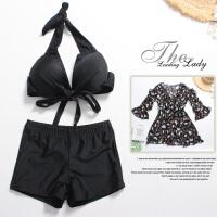 Lisse 泳衣女士三件套韩国小香风保守分体款遮肉宽松显瘦胖mm大码比基尼 XXXX