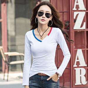 春秋长袖套头上衣T恤 时尚女装拼接撞色V领修身休闲打底衫