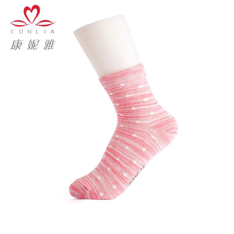 【5双盒装】康妮雅家居服配件 女士糖果色波点印花中筒袜子先领卷后购物 满399减50