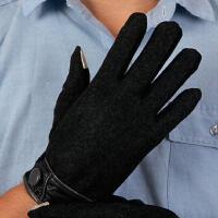 双层男款冬季户外触屏羊毛手套男士保暖加厚防寒羊绒手套