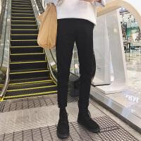 新款港风潮流男士纯色牛仔裤时尚修身小脚裤青年靴裤弹力牛仔长裤