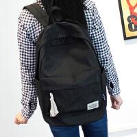 纯色简约双肩包女韩版书包中学生女学院风旅行背包男电脑包休闲包 黑色