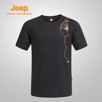 【满149减100/满299减200】Jeep/吉普 男士户外防晒短袖T恤夏季圆领速干透气短袖T恤J641107006