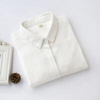 秋冬新款白衬衫女式韩国文艺竹节棉麻打底衫内搭长袖