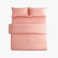 当当优品色织四件套 纯棉日式水洗磨毛床品 双人加大1.8米床 橘粉