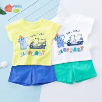 贝贝怡宝宝短袖套装夏季新款中大童套头卡通上衣裤子192T362