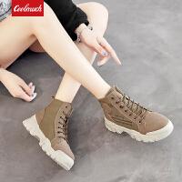 【限时特价包邮】Coolmuch女子工装鞋2019新款时尚复古耐磨防滑中高帮户外休闲马丁靴YC608
