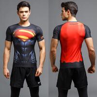 20180821193815878漫威超人蜘蛛侠短袖紧身衣T恤男士速干透气篮球健身服运动弹力薄