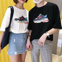 情侣装夏季新品个性印花短袖T恤男日系宽松简约休闲五分袖