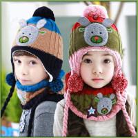 儿童保暖帽子围巾两件套男童女童宝宝帽子围脖套装潮加厚