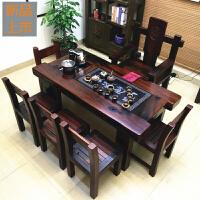 老船木客厅阳台茶几家用型茶桌实木古船木功夫泡茶台桌椅组合家具定制 整装
