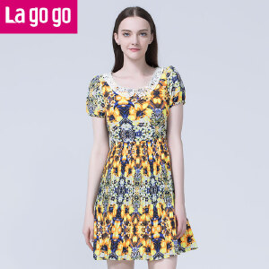 lagogo拉谷谷夏季新款植物花卉收腰百褶裙洋装