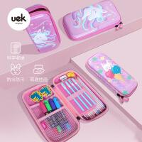 uek小�W生女童公主文具袋小�W生女孩�和�文具盒多功能小��P盒