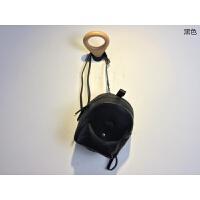 植鞣羊皮双肩包女小背包休闲小旅行包新款韩版百搭迷你小包包 黑色