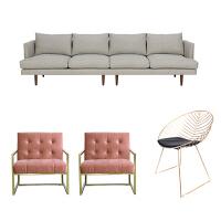 北欧风布艺沙发乳胶沙发小户型三人组合网红ins现代轻奢客厅整装 四人位+2单椅+铁丝椅(E套餐)) 拍下请备注颜色